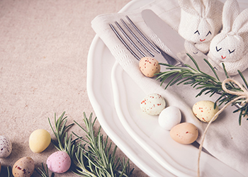 Easter table setting copyspace background, selective focus, toning