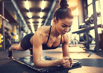 Woman in plank pose